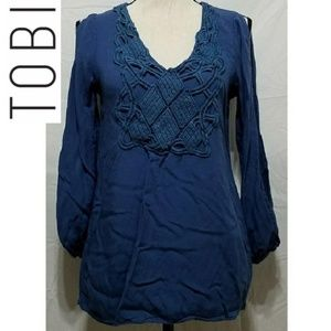 Tobi | Blue Split Sleeve Boho Blouse Crochet